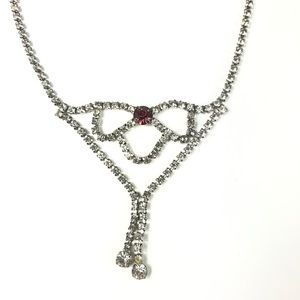 Vintage Icy Rhinestone Drop Necklace
